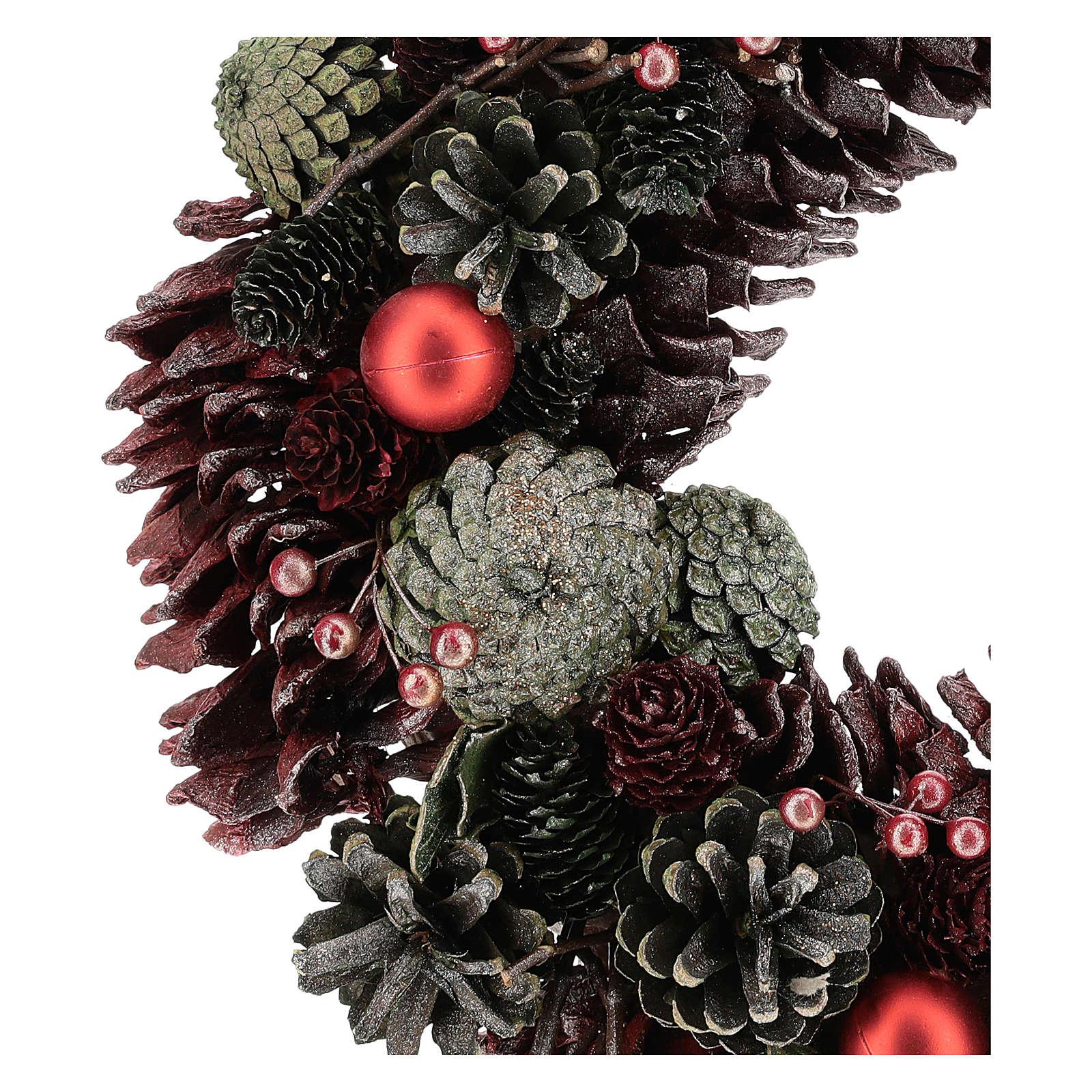 Ghirlanda con pigne colorate 30 cm 3
