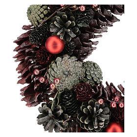 Ghirlanda con pigne colorate 30 cm s2