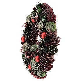 Ghirlanda con pigne colorate 30 cm s3