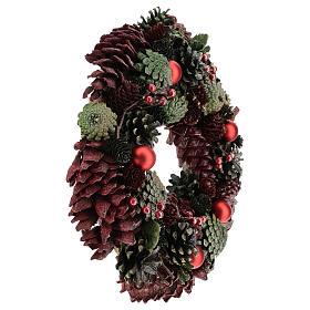 Ghirlanda con pigne colorate 30 cm s4
