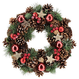 Christmas wreath with pine cone and pine branches diam. 30 cm s1
