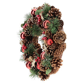 Christmas wreath with pine cone and pine branches diam. 30 cm s3