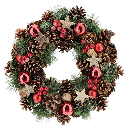 Christmas wreath with pine cone and pine branches diam. 30 cm 1