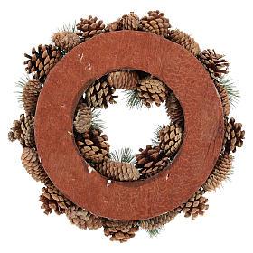 Corona con piñas y ramas de pino diám. 30 cm s5