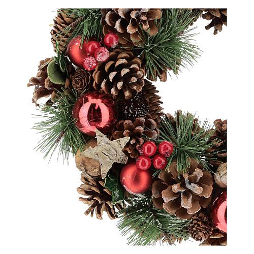 Corona con piñas y ramas de pino diám. 30 cm 2