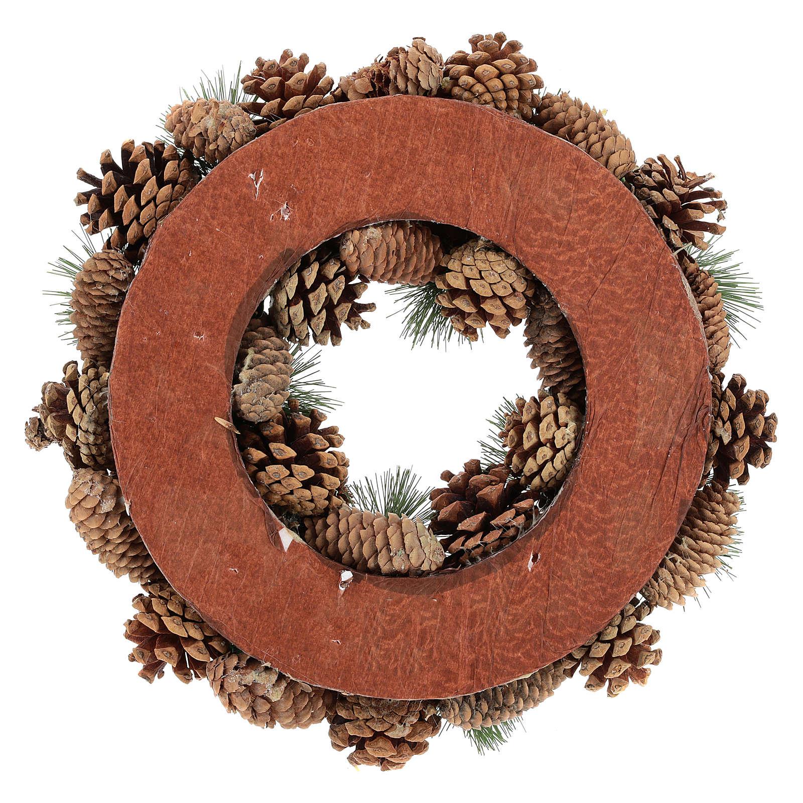 Corona con pigne e rami di pino diam.30 cm 3