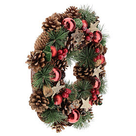 Christmas wreath with pine cone and pine branches diam. 30 cm s4