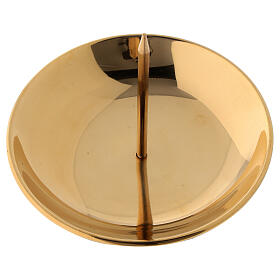 Advent candle holder shiny golden brass with jag diameter 10 cm s2