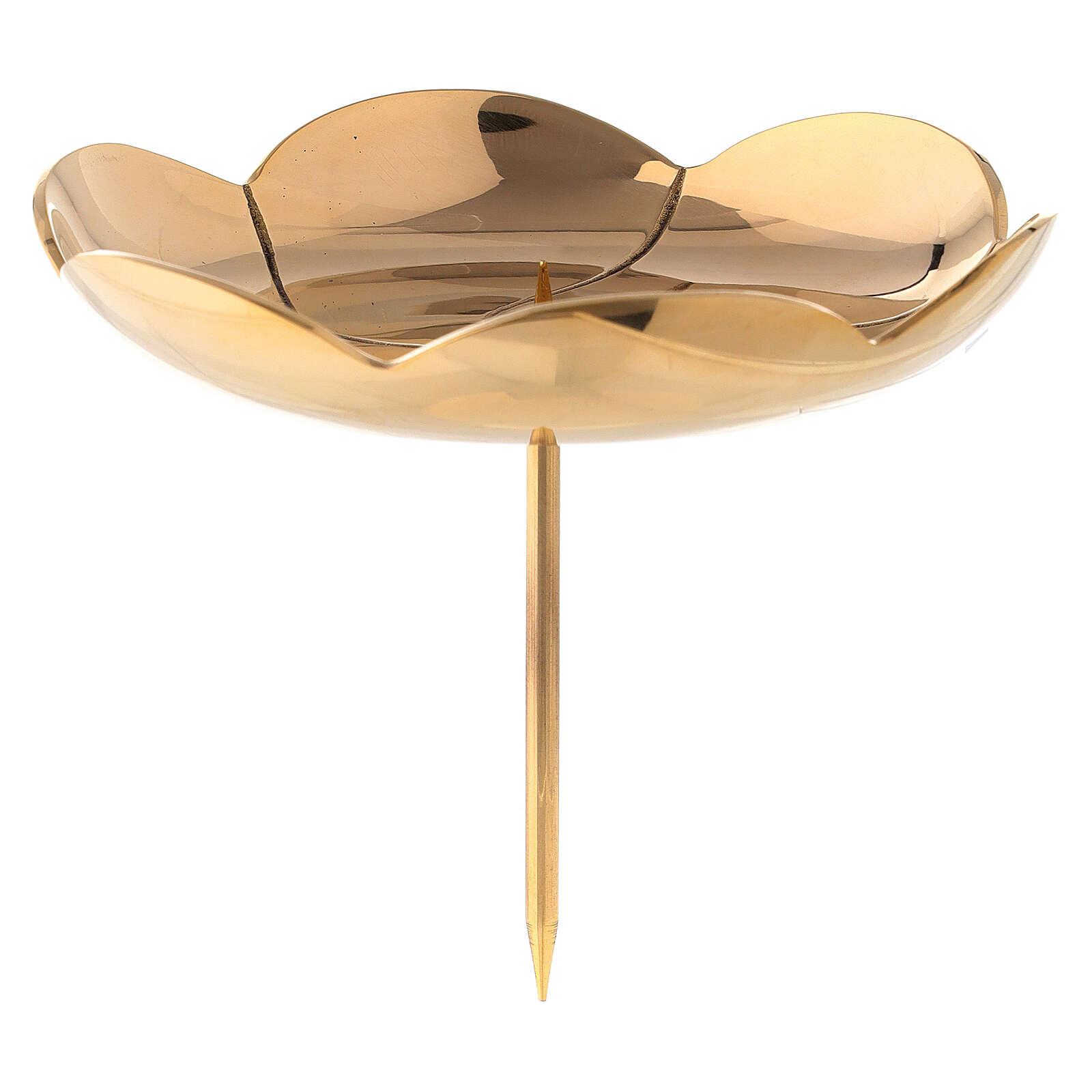 Punta corona adviento flor loto latón dorado 12 cm 3