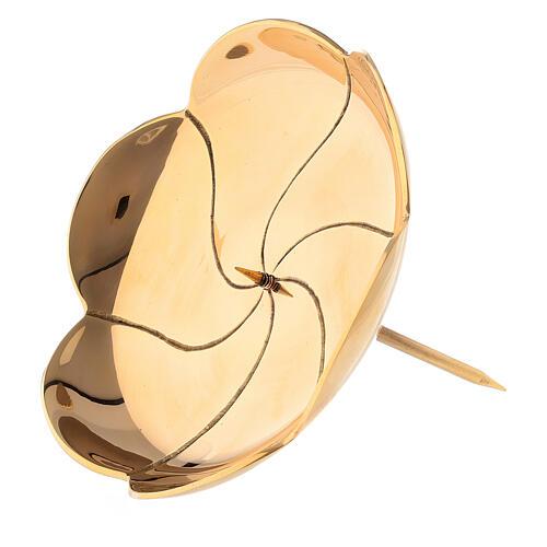 Punta corona adviento flor loto latón dorado 12 cm 2