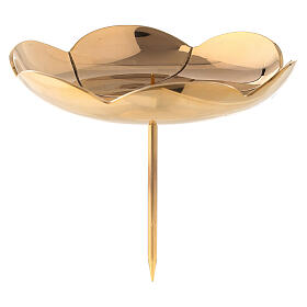 Lotus flower shaped candle holder for Advent wreath gold plated brass 4 3/4 in s1