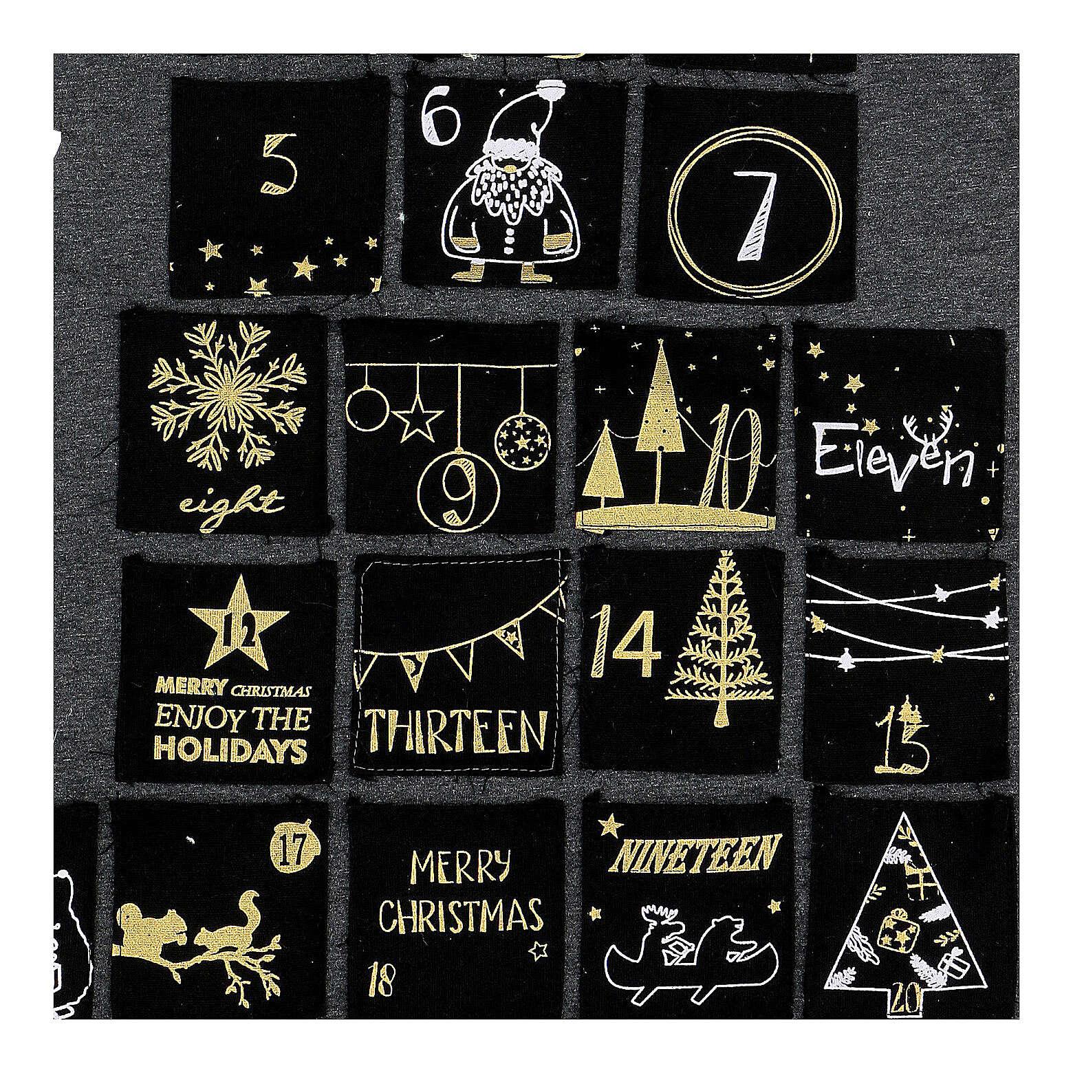 Kalendarz adwentowy: choinka stylizowana szary złoty h 80 cm 3