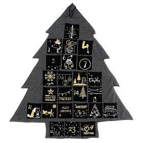 Kalendarz adwentowy: choinka stylizowana szary złoty h 80 cm s6