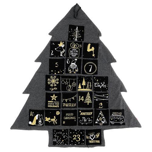 Kalendarz adwentowy: choinka stylizowana szary złoty h 80 cm 6