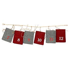 Calendario Avvento sacchetti in stoffa 10x12 cm s2