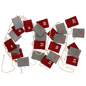 Calendario Avvento sacchetti in stoffa 10x12 cm s5