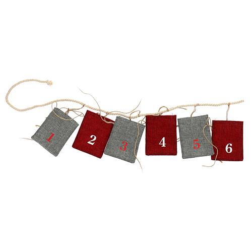Calendario Avvento sacchetti in stoffa 10x12 cm 1