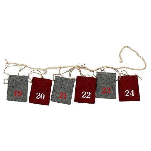 Calendario Avvento sacchetti in stoffa 10x12 cm 4