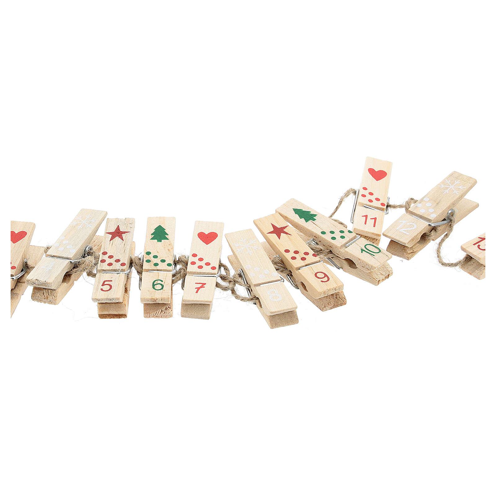 Mollette legno per Calendario Avvento 3