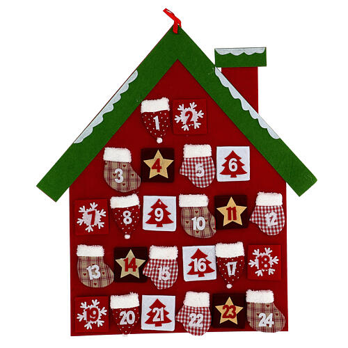 Calendrier Avent maison rouge tissu 1