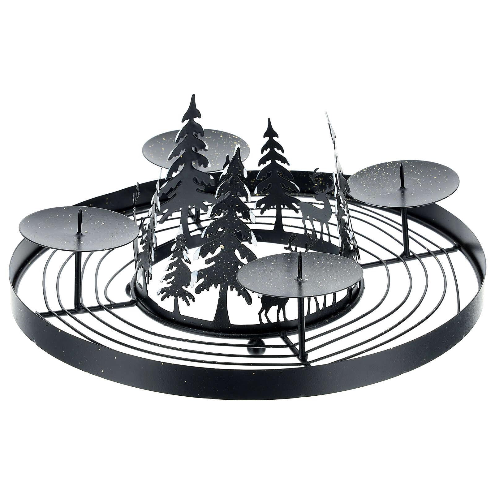 Corona Avvento foresta innevata punzoni 30 cm 3
