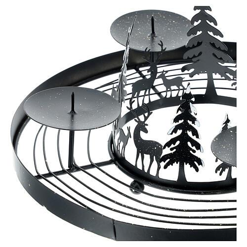 Corona Avvento foresta innevata punzoni 30 cm 2