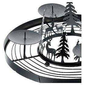 Korona adwentowa ośnieżony las kolce 30 cm s2