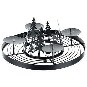 Korona adwentowa ośnieżony las kolce 30 cm s3