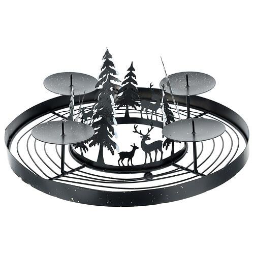 Korona adwentowa ośnieżony las kolce 30 cm 1
