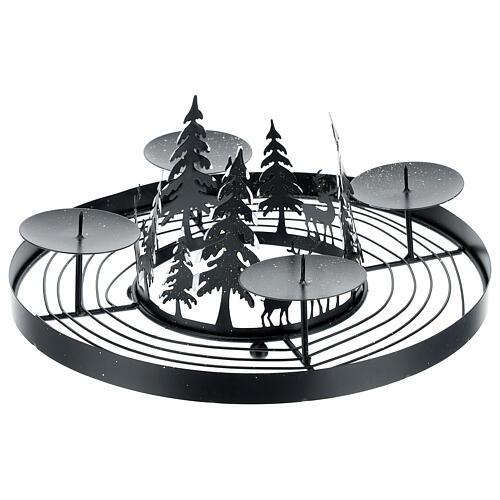 Korona adwentowa ośnieżony las kolce 30 cm 3