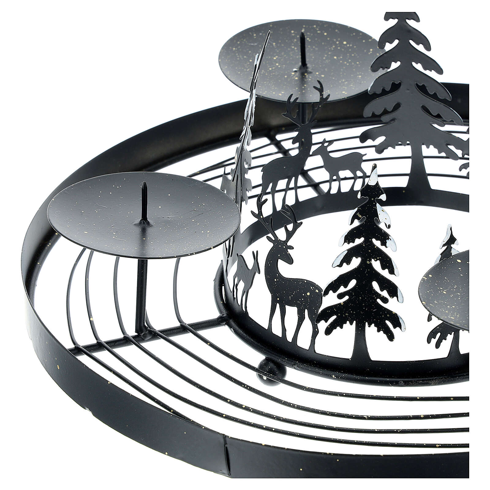 Advent wreath snowy forest spikes 30 cm 3
