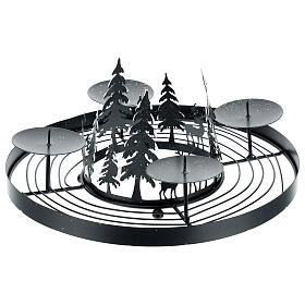 Advent wreath snowy forest spikes 30 cm s3