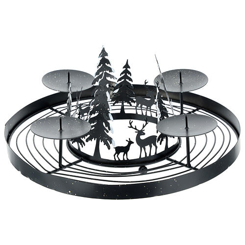 Advent wreath snowy forest spikes 30 cm 1