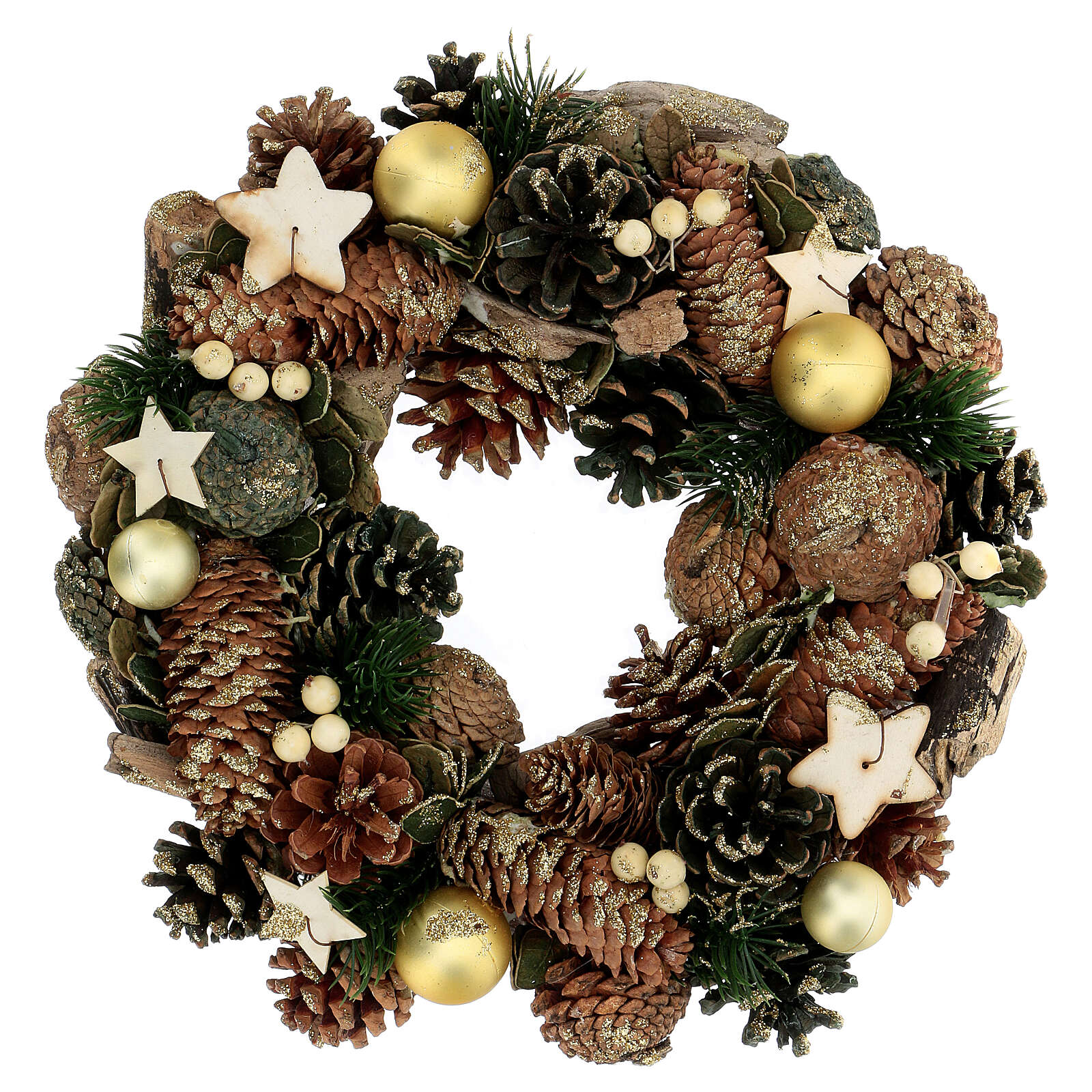 Advent crown pine cones and stars 30 cm gold 3