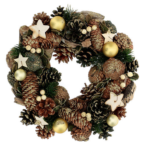 Advent crown pine cones and stars 30 cm gold 1