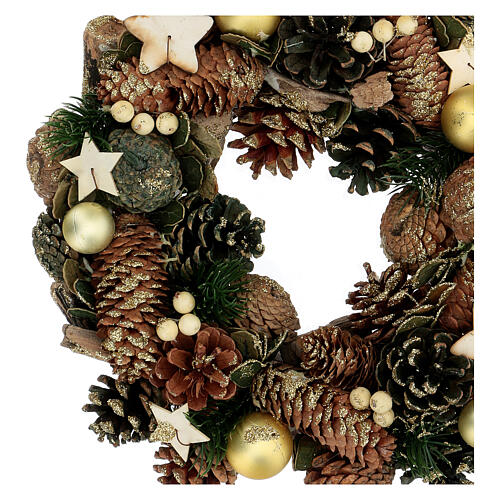 Advent crown pine cones and stars 30 cm gold 2