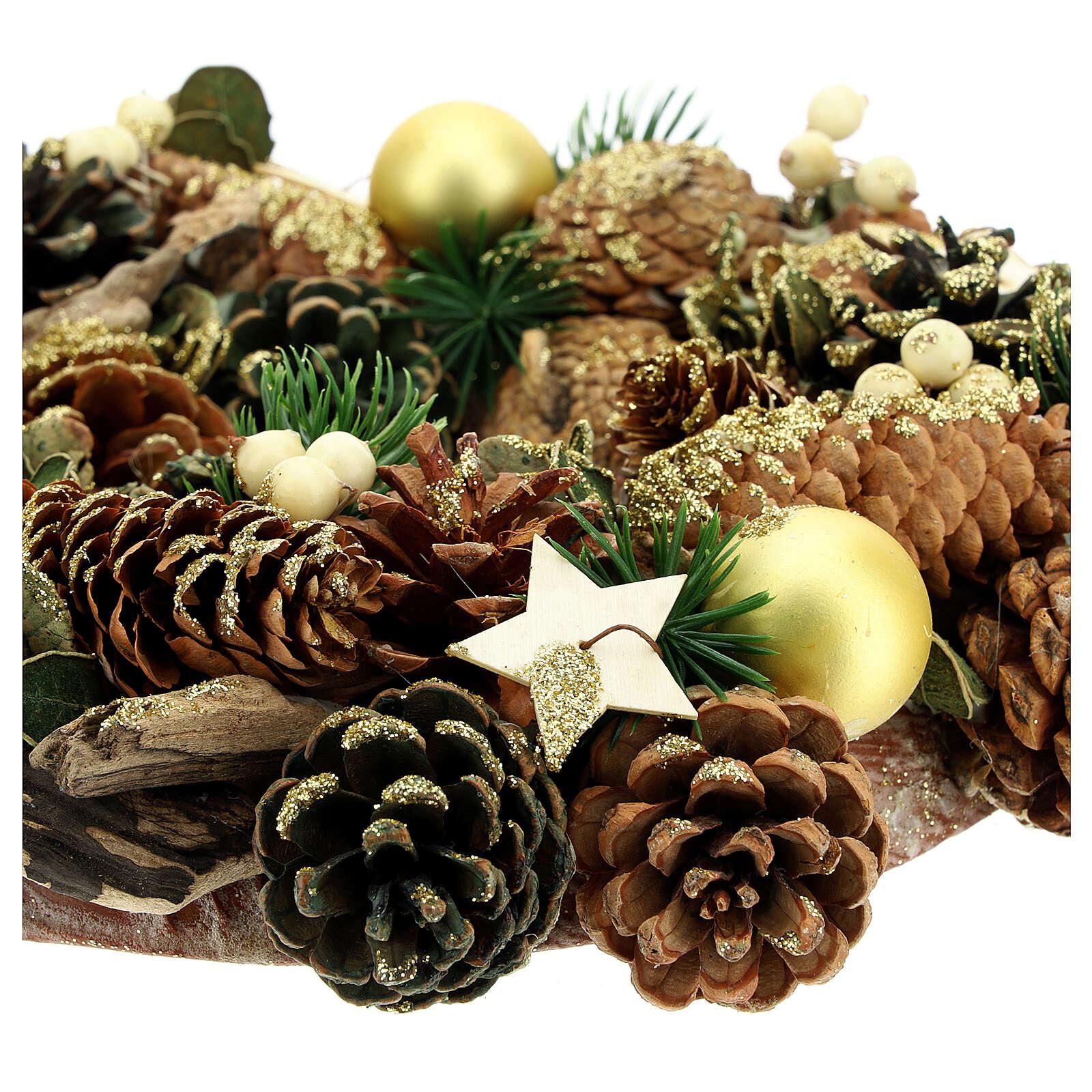 Advent wreath pine cones and stars 30 cm gold 3