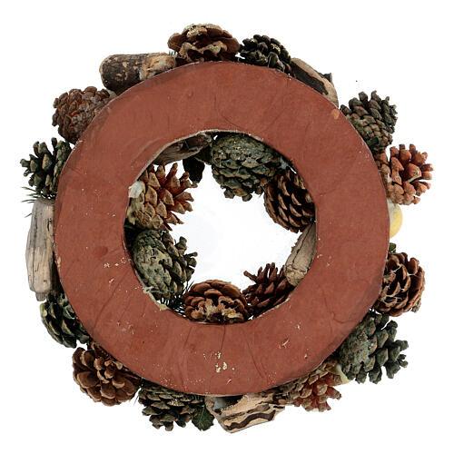 Advent wreath pine cones and stars 30 cm gold 4