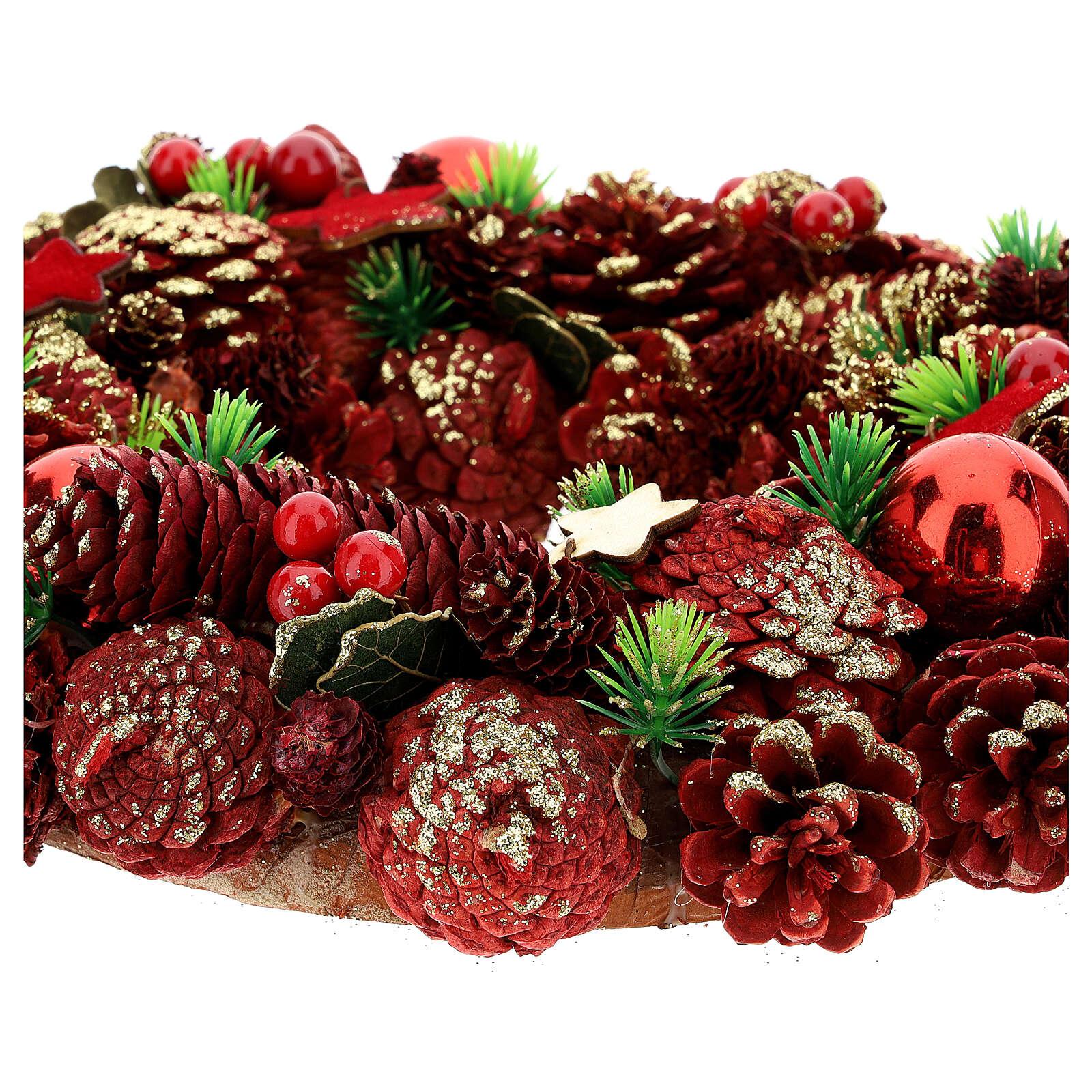 Couronne Avent pommes de pin baies étoiles 30 cm rouge 3