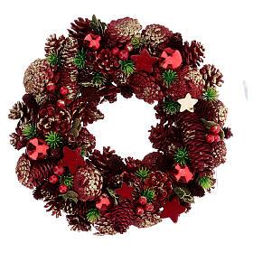 Couronne Avent pommes de pin baies étoiles 30 cm rouge s1