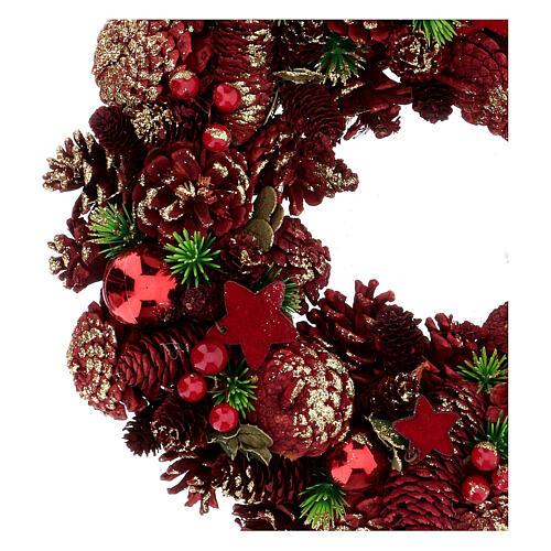 Couronne Avent pommes de pin baies étoiles 30 cm rouge 2