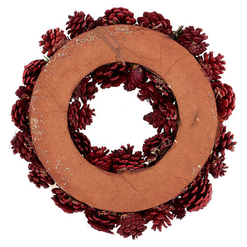 Couronne Avent pommes de pin baies étoiles 30 cm rouge 4