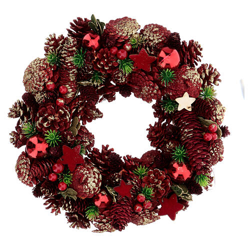 Advent wreath pine cones berries stars 30 cm red 1