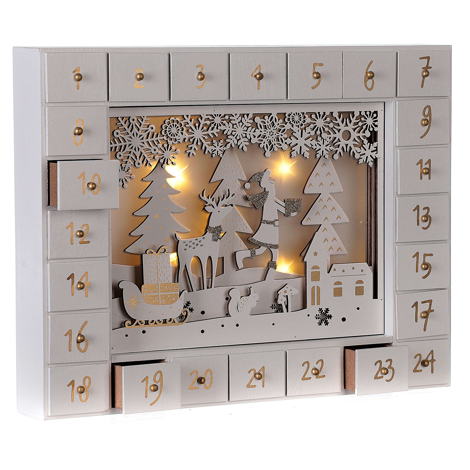 Advent Calendar with snowy forest background 27 cm 3