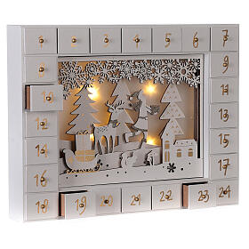 Advent Calendar with snowy forest background 27 cm s5