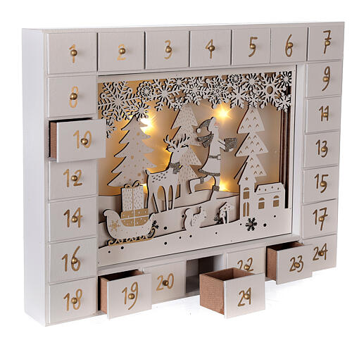 Advent Calendar with snowy forest background 27 cm 4
