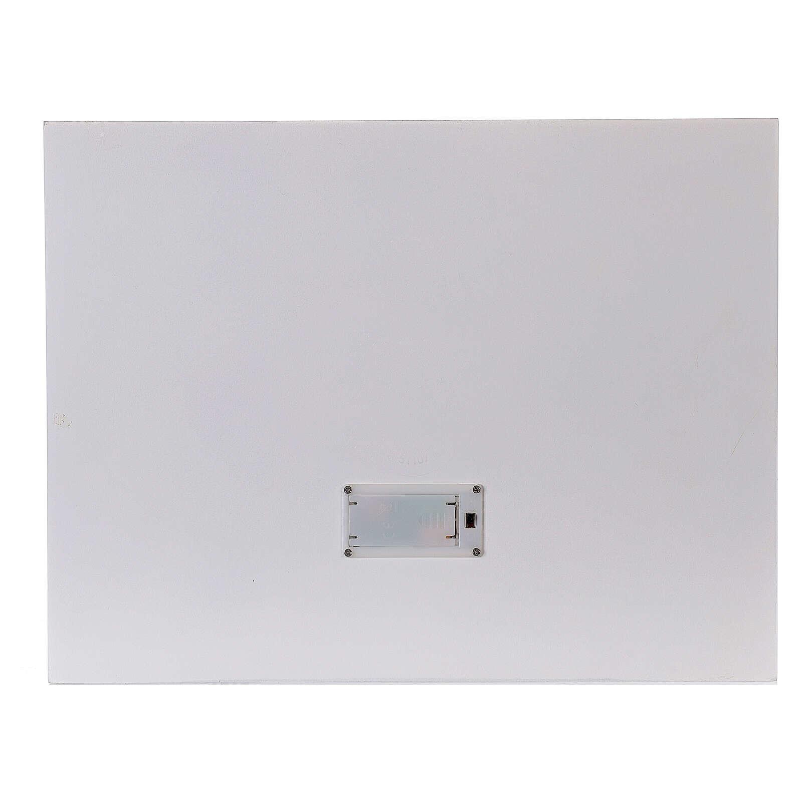 Calendrier Avent bois blanc lumières 27 cm 3