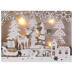 Calendrier Avent bois blanc lumières 27 cm s2