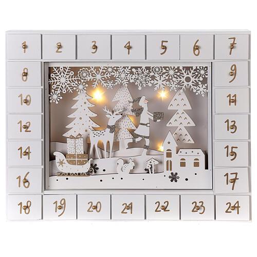 Calendrier Avent bois blanc lumières 27 cm 1