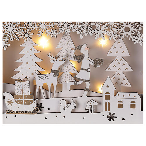 Calendrier Avent bois blanc lumières 27 cm 2